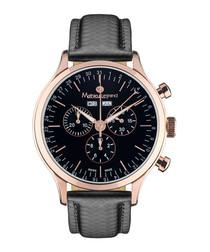 Tournante Schwarz rose-gold tone watch