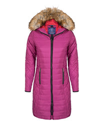 Fuchsia textured hooded coat