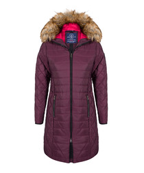 Bordeaux textured hooded coat