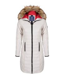 Grey textured hooded coat