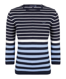 Navy & ecru cotton striped jumper