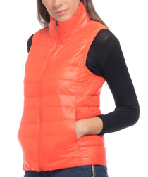 Orange feather & down puffer gilet
