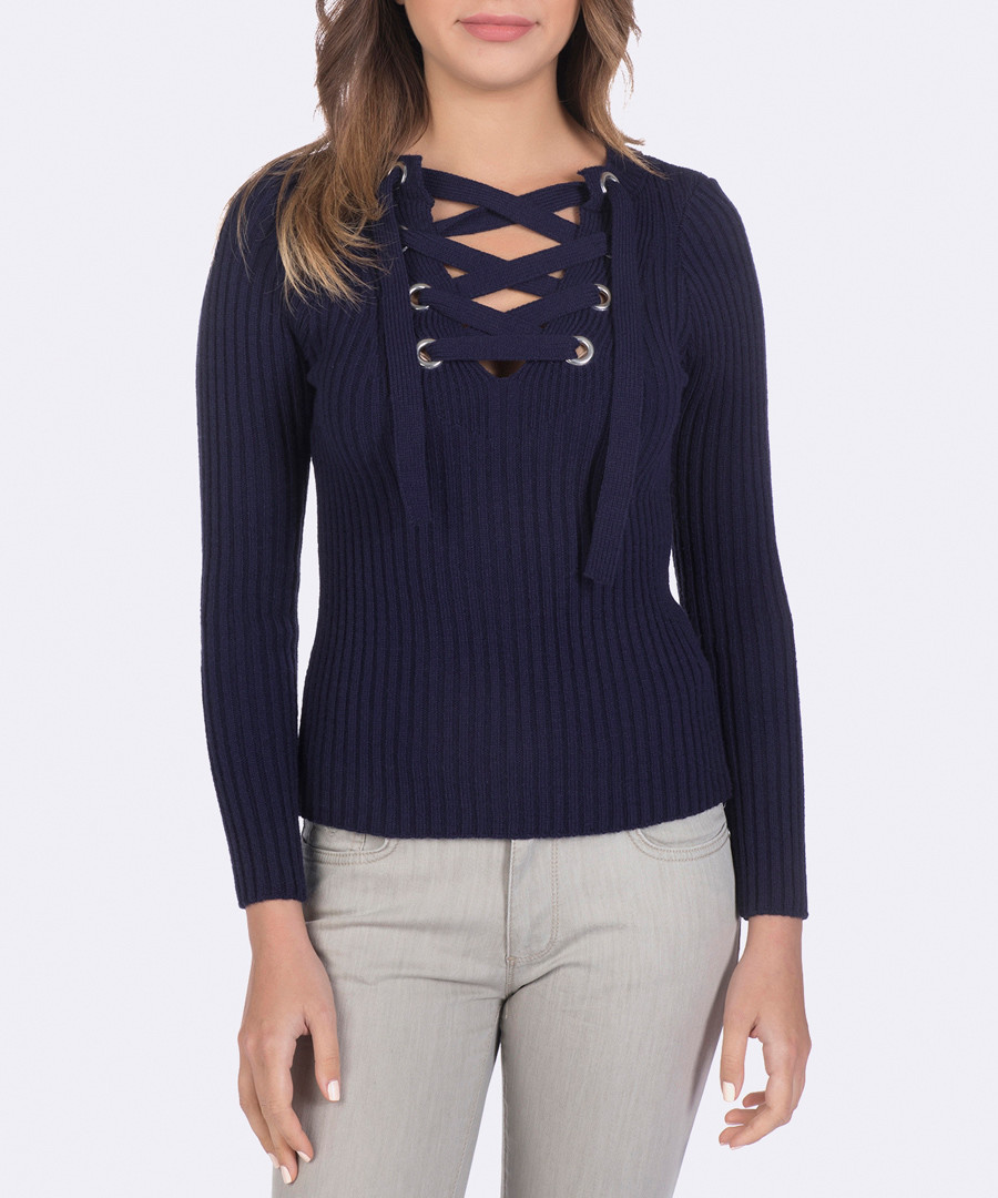Navy criss-cross jumper Sale - giorgio di mare