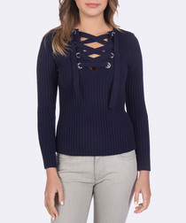 Navy criss-cross jumper