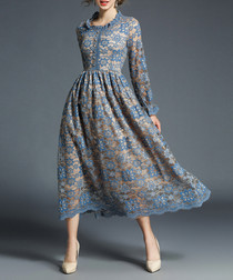 Blue lace long sleeve midi dress
