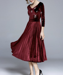 Wine velvet pleated midi dress
