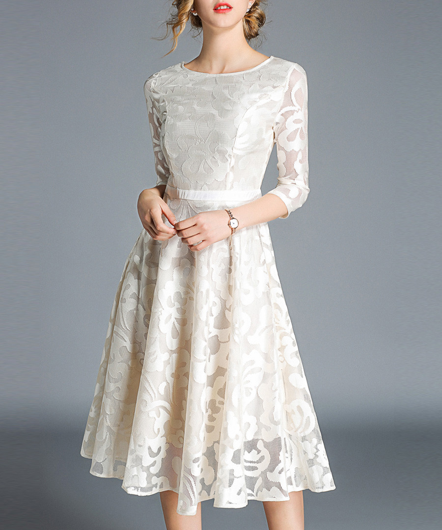 Apricot lace 3/4 sleeve dress Sale - Kaimilan