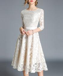 Apricot lace 3/4 sleeve dress