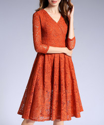 Dark orange V-neck lace 3/4 sleeve dress