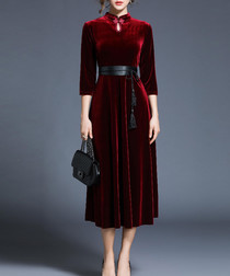 Scarlet velvet high neck midi dress