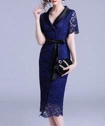 Blue short sleeve lace wrap dress