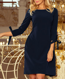 Dark blue 3/4 bow sleeve mini dress