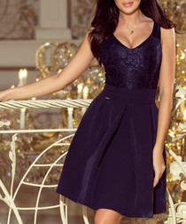 Dark blue sleeveless plunge dress