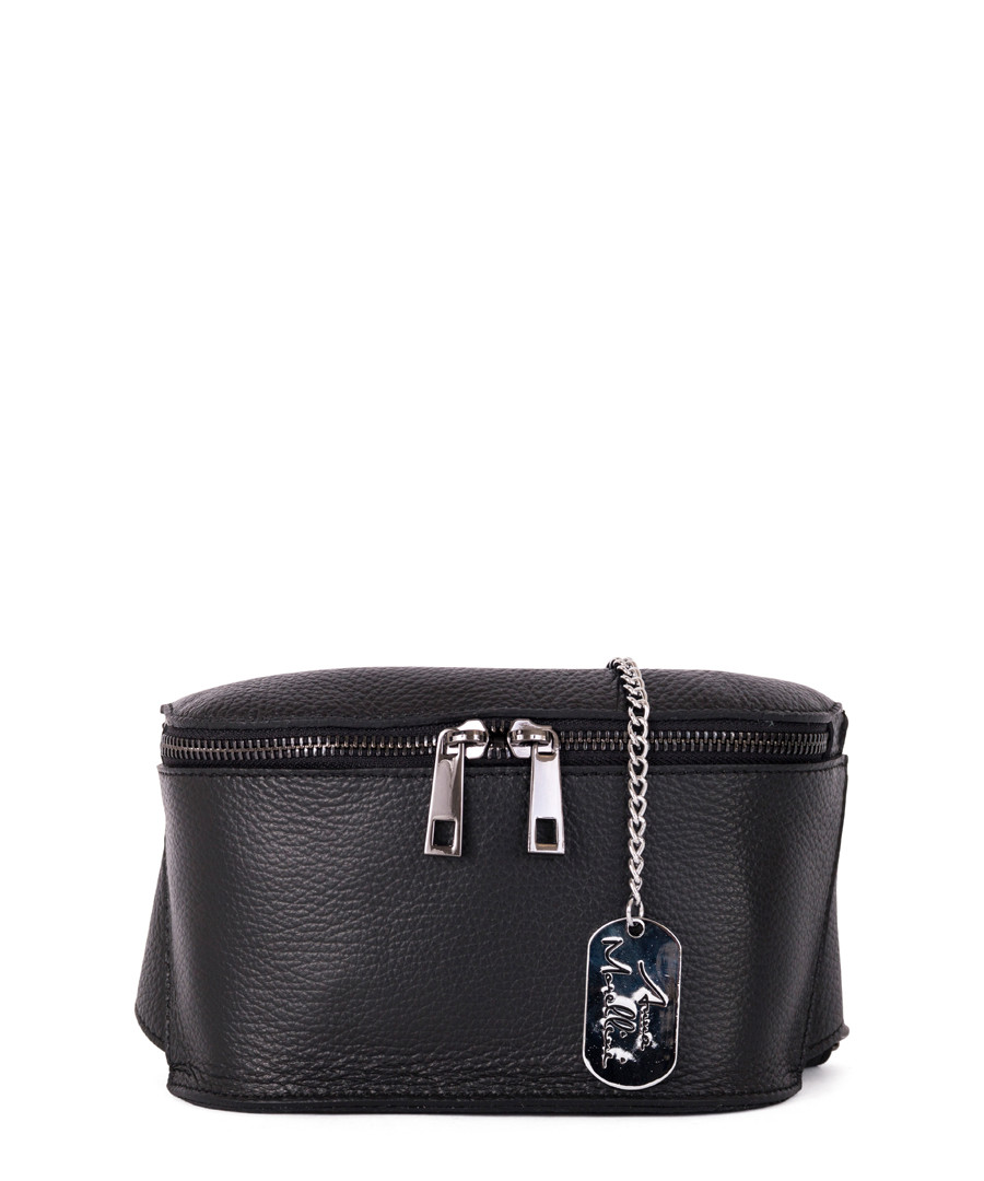 Emma black leather front-zip waist bag Sale - anna morellini