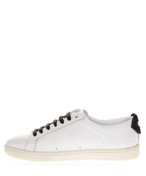 Court white leather lace-up sneakers