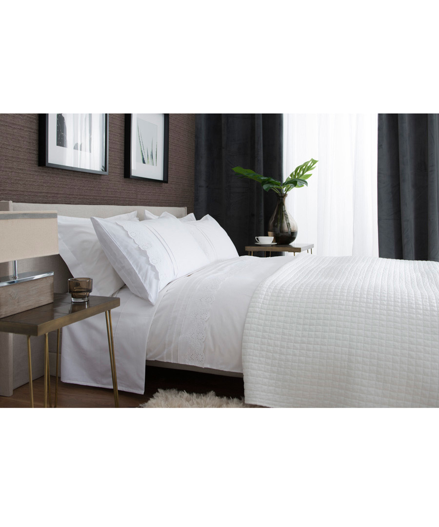 Ashanti white cotton single duvet set Sale - lyndon