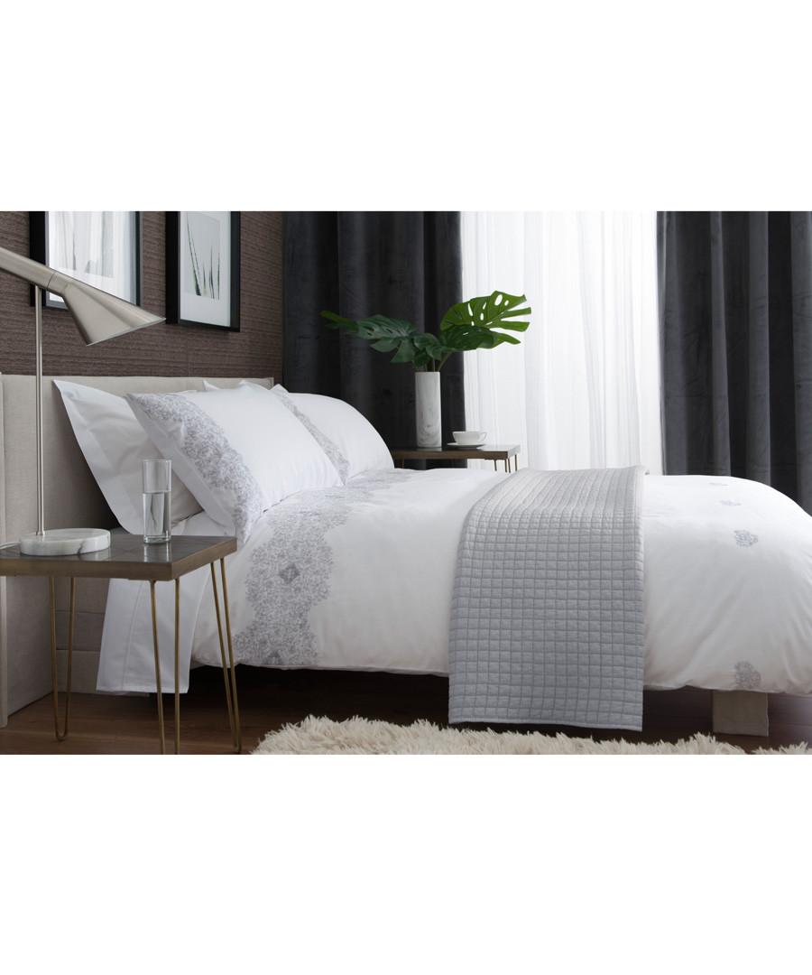 White & grey cotton king duvet set Sale - lyndon