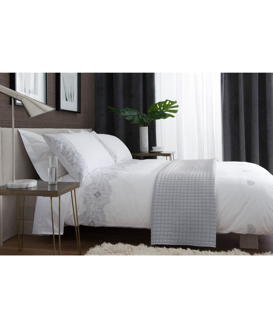 White & grey cotton single duvet set Sale - lyndon