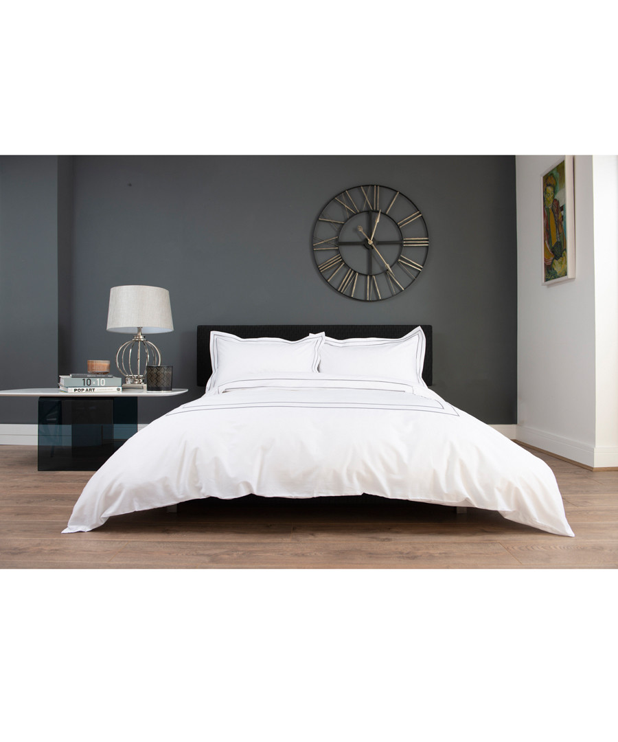 Montpellier white & grey cotton double duvet set Sale - lyndon