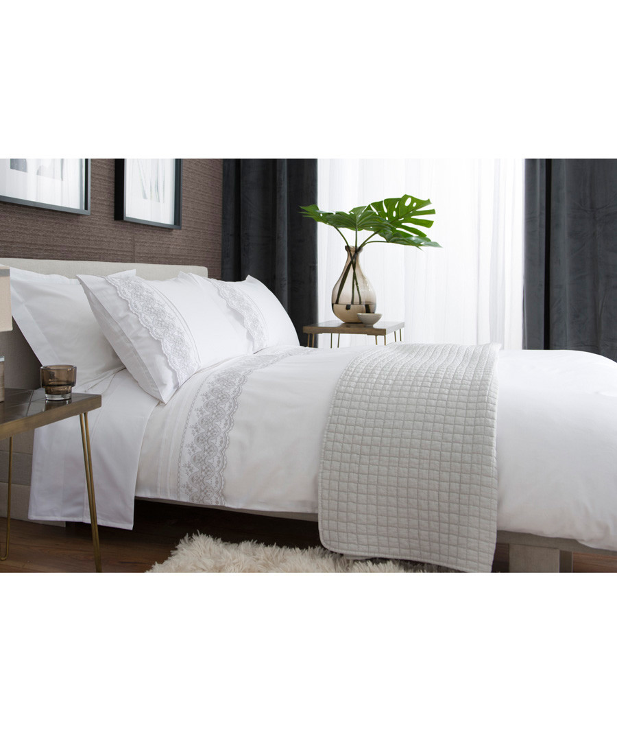 St Petersburg white double duvet set Sale - lyndon