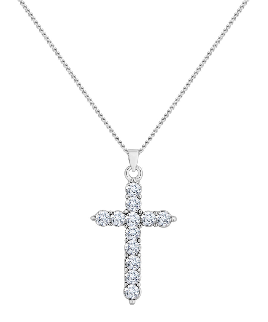 14ct white gold-plated cross pendant Sale - diamond style