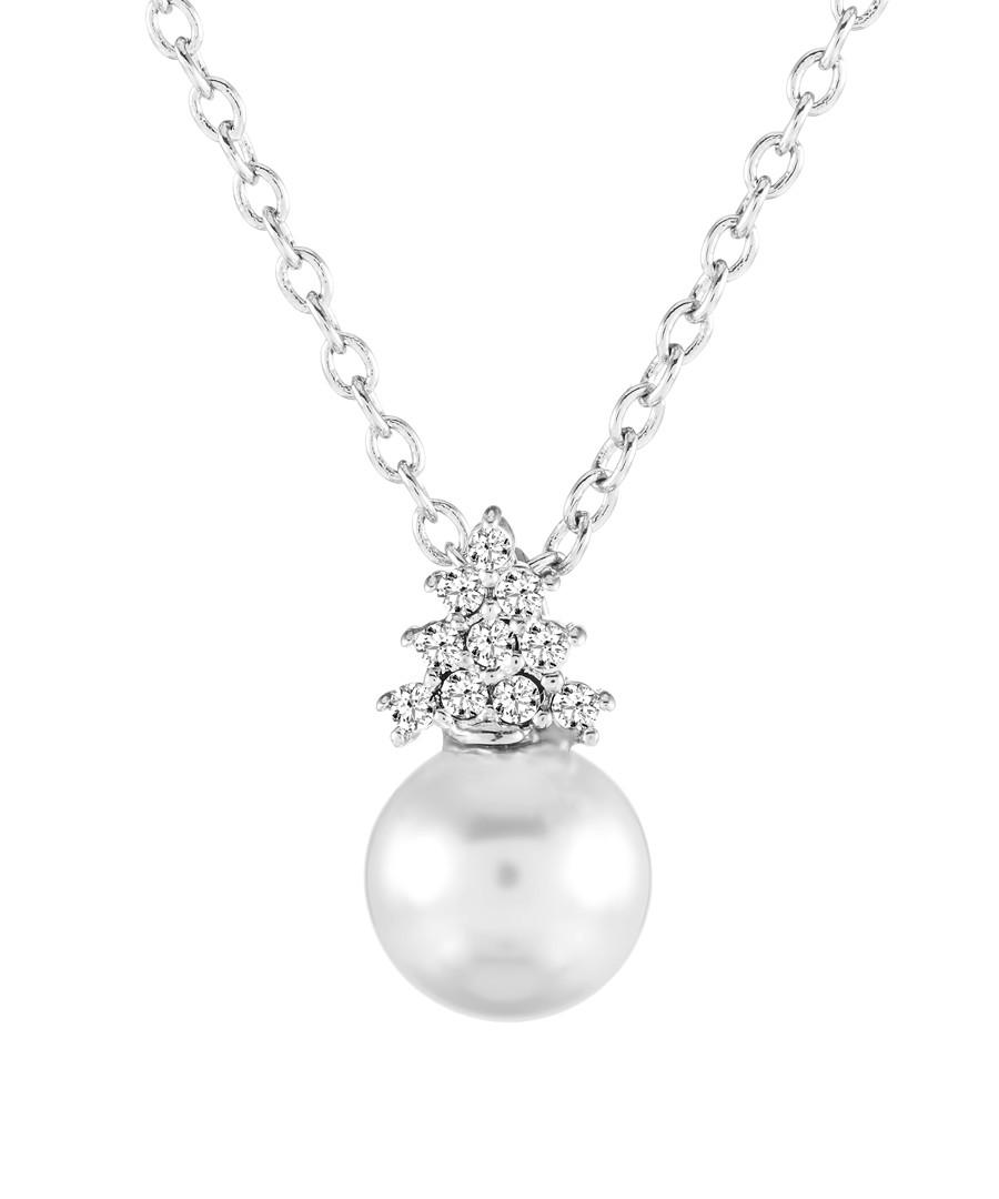 14ct white gold-plated pendant Sale - diamond style