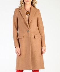 Camel wool blend button coat