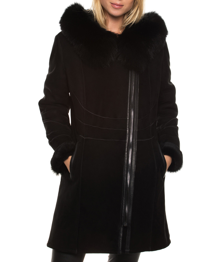 Women's Shay black shearling coat Sale - john & yoko