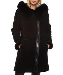 Women's Shay black shearling coat