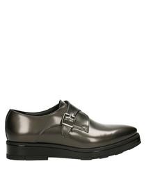 Grey leather monkstrap shoes