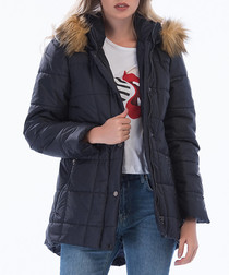 Navy quilted puffer coat