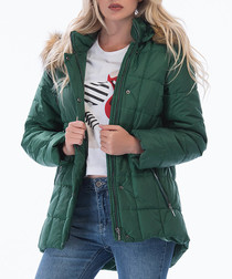 Green quilted puffer coat
