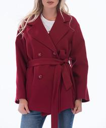 Burgundy short tie waist coat