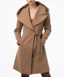 Camel hooded tie waist coat