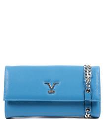 Blue leather logo clutch