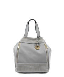 Grey studded slouch bag