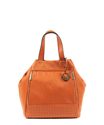 Orange studded slouch bag