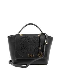 Black perforated shopper bag