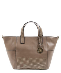 Brown studded shopper bag