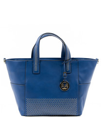 Blue studded shopper bag