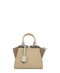 Beige & dove leather grab bag