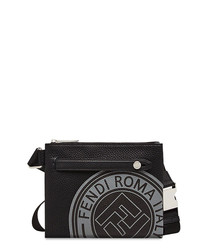 Black leather logo waist bag