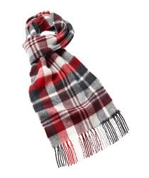 Easby grey merino check scarf