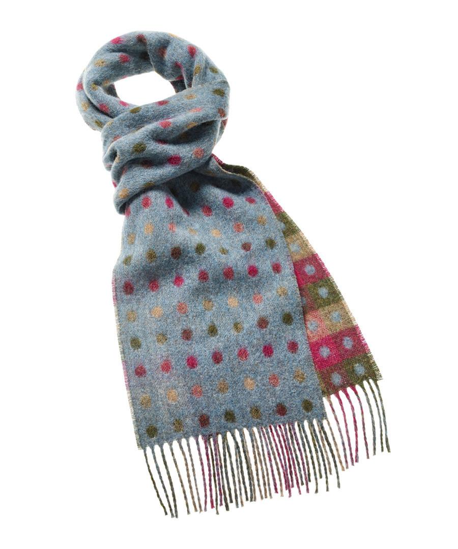 Spot teal & multi-colour merino scarf Sale - Bronte