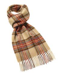 Dress Stewart beige merino check scarf