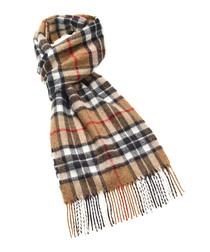 Thompson camel merino check scarf