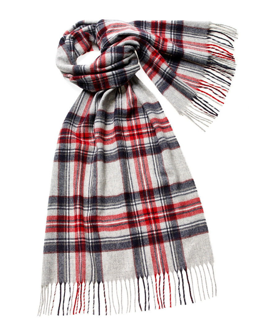 Ingleborough silver merino check scarf Sale - bronte