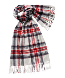 Ingleborough silver merino check scarf