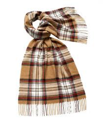 Stewart camel merino check scarf