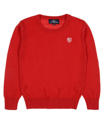 Boys' Red pure cotton jumper